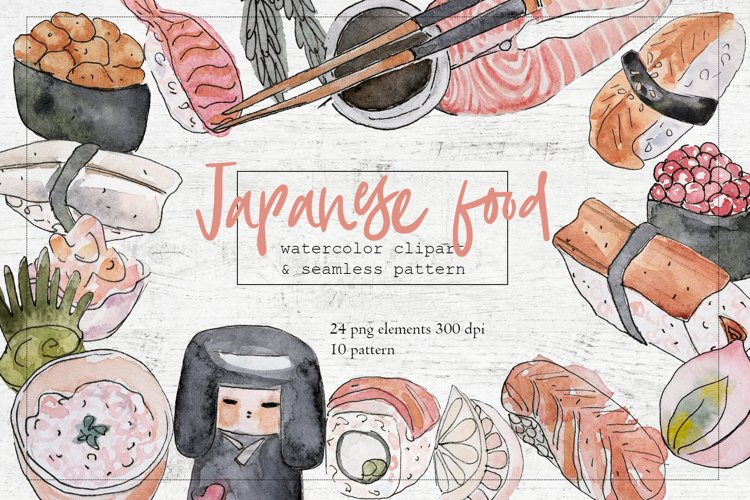 Watercolor sushi set of beautiful tasty japanese sushi example image 1