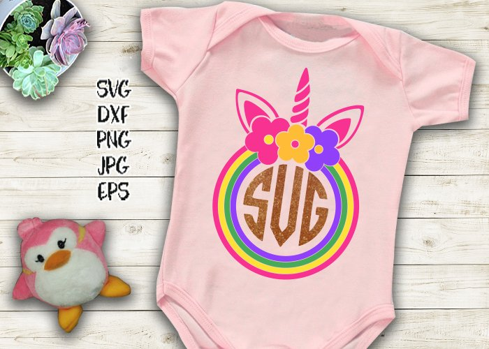 Unicorn monogram with flowers file to cut print example image 1