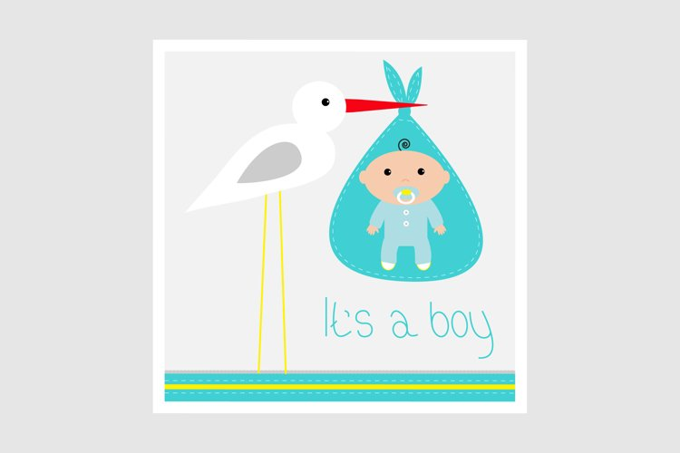 Its a boy. Stork with baby. Vector illustration example image 1