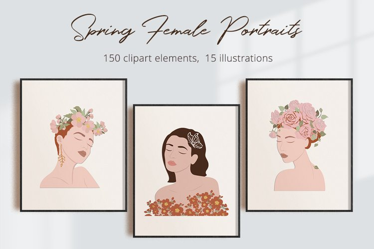 Spring Female Portraits Illustration Set
