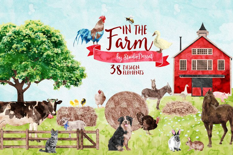 Farm Animals Watercolor Illustrations & Patterns