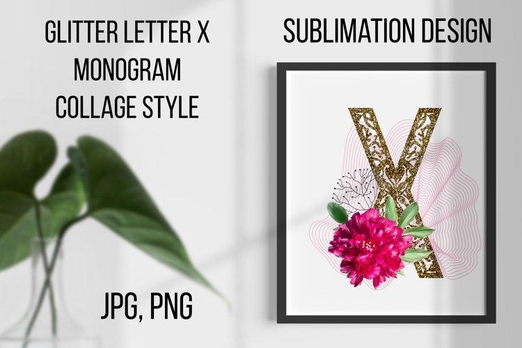 Gold lase letter X, Monogram collage, Sublimation design example image 1