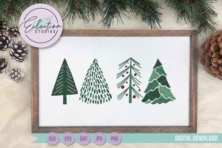 Christmas Trees SVG, Hand drawn doodle Christmas trees example