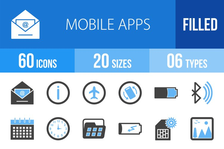 110 Mobile Apps Filled Blue & Black Icons Season II example image 1
