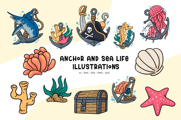 Anchor And Sea Life illustrations example image 1