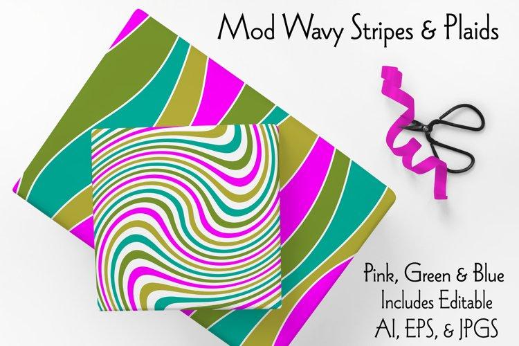 Mod Wavy Stripes & Plaids Pink Green Blue