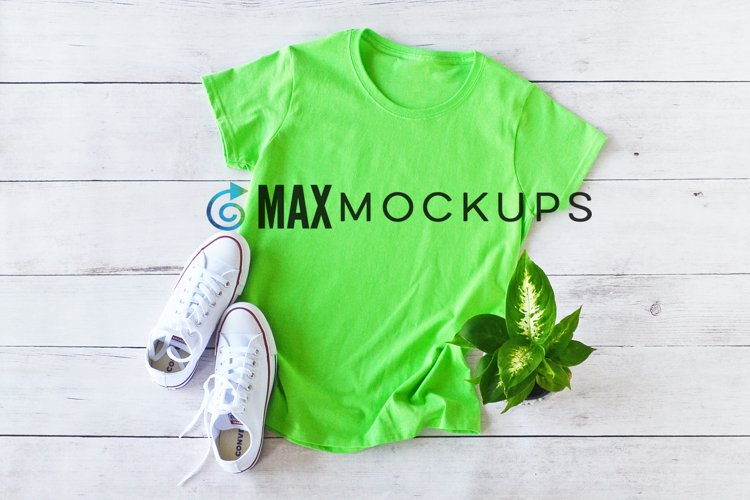 Green shirt mockup women, casual flatlay styled photo example image 1