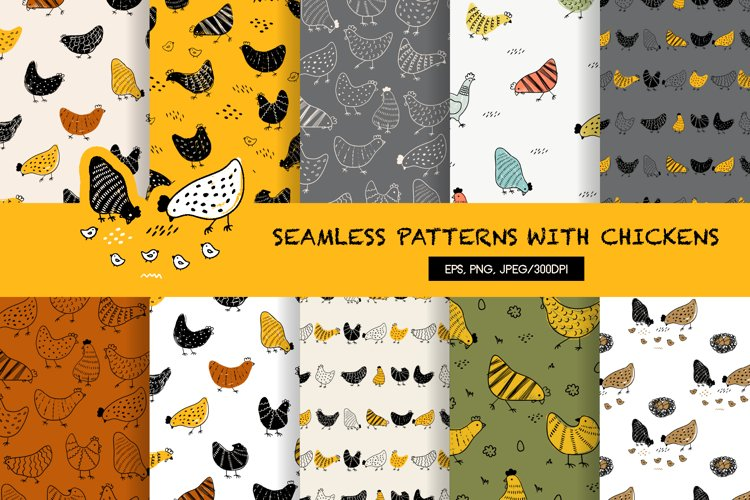 Easter seamless patterns with chickens