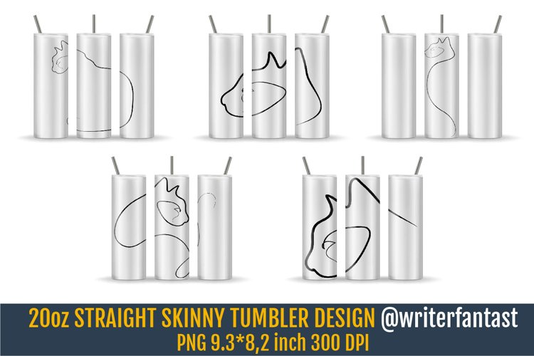 20oz STRAIGHT Skinny Tumbler Sublimation with Black cats example image 1