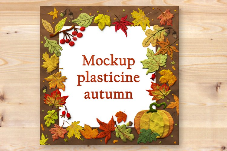 Mockup with autumn leaves and pumpkin in plasticine style. example image 1