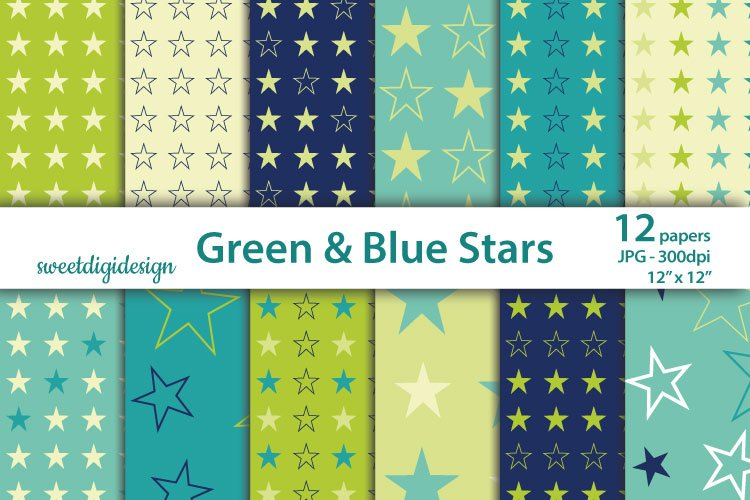 Navy blue and green seamless backgrounds, stars papers