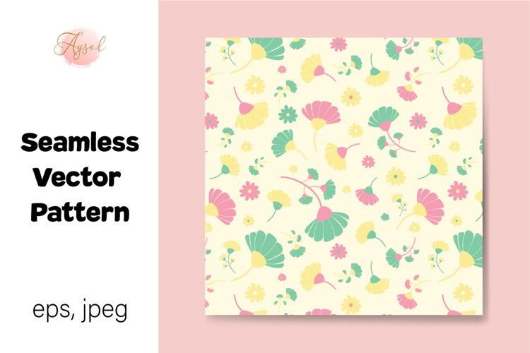 Colorful Daisy Flowers Digital Paper, Seamless Pattern example image 1
