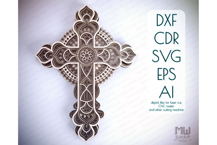 Cr14 - Multilayer Cross, Laser cut Cross, Cricut Cross SVG example image 1
