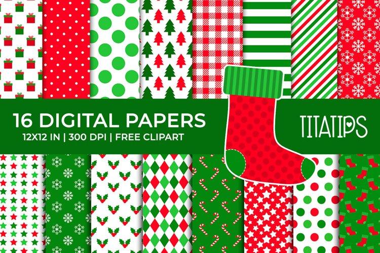 Christmas Digital Papers Set, Free Xmas Sock Clipart