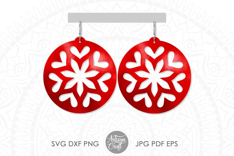 Round Earring, SVG cut files, heart jewelry
