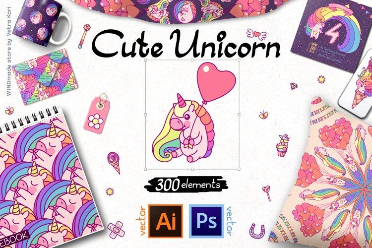 vector set Cute Unicorn