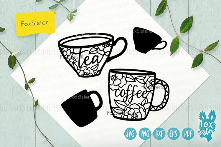 Tea and Coffee cups svg, Tea time example image 1