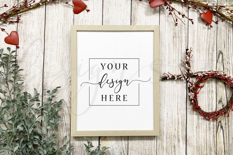 Valentine Sign Mockup Rustic Farmhouse Style Wooden Frame example image 1