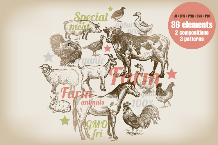 Farm animals and products.