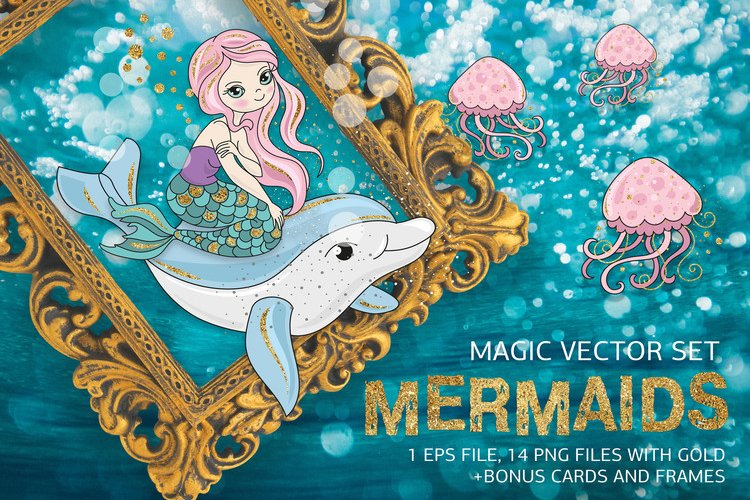 MERMAIDS Sea Tropical Color Vector Illustration Set example image 1