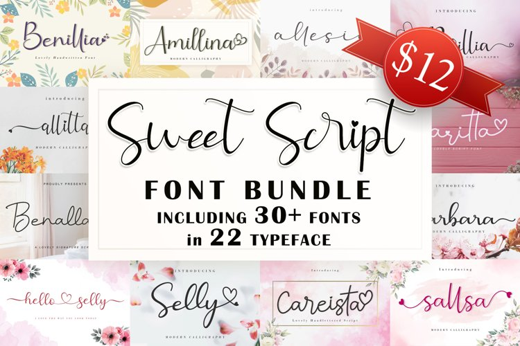 Sweet Script Font Bundle example image 1