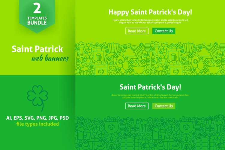 Saint Patricks Day Line Web Banners example image 1