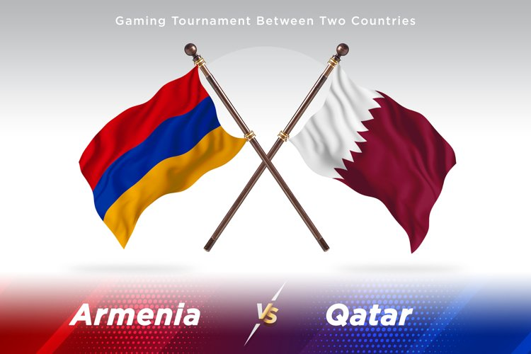 Armenia versus Qatar Two Flags example image 1