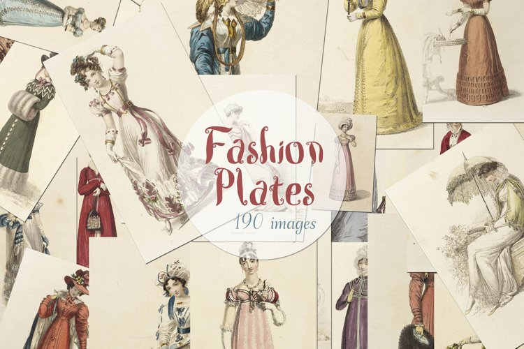 190 Vintage Hand colored Fashion Plates Mega Bundle Ephemera