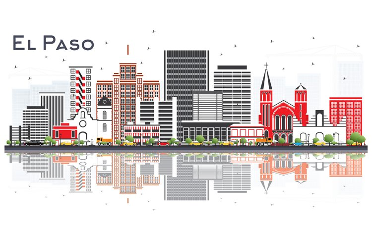 El Paso Texas Skyline with Gray Buildings example image 1