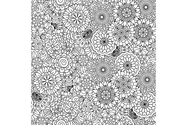 Various floral circular shapes in seamless pattern example image 1
