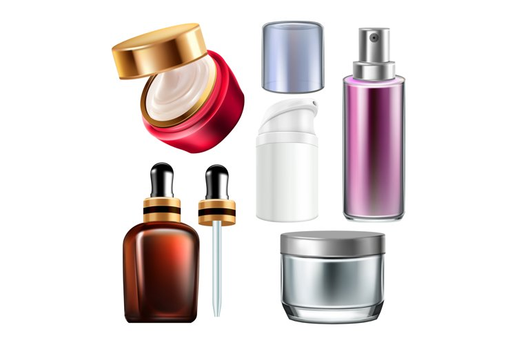 Night Cream And Cosmetics Containers Set Vector example image 1