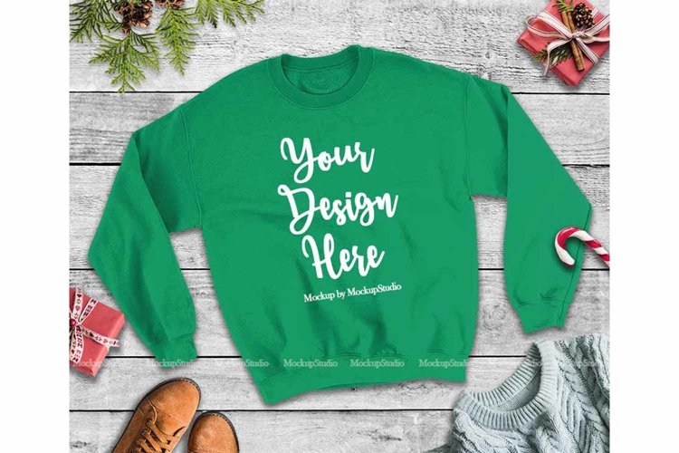 Christmas Winter Party Green Unisex Sweatshirt Mock Up example image 1