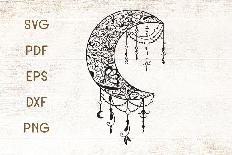 Floral Mandala Moon Zentangle SVG - Vector example image 1