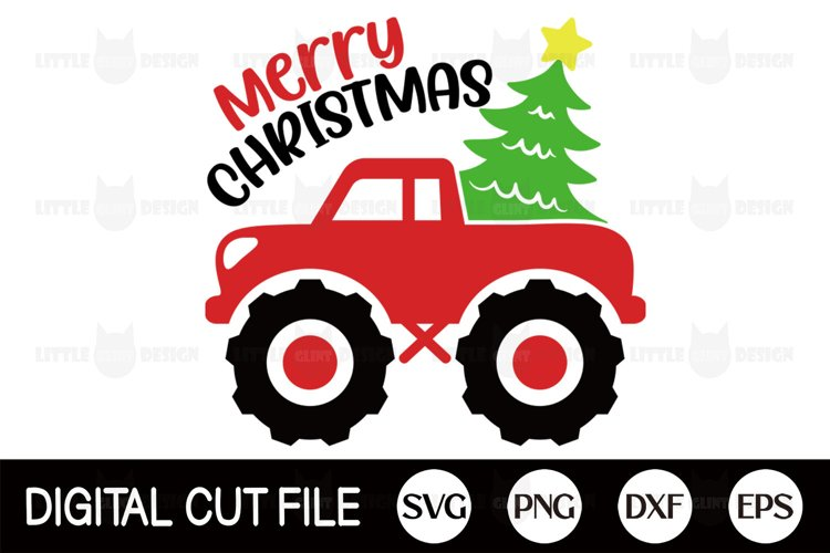 Christmas Truck PNG, Monster Truck SVG, Merry Christmas DXF example image 1