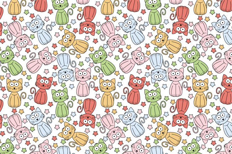 pattern design, with cute cat cartoon ornament example image 1