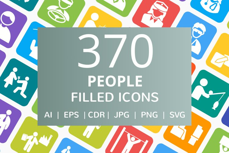 370 People Filled Round Corner Icons example image 1