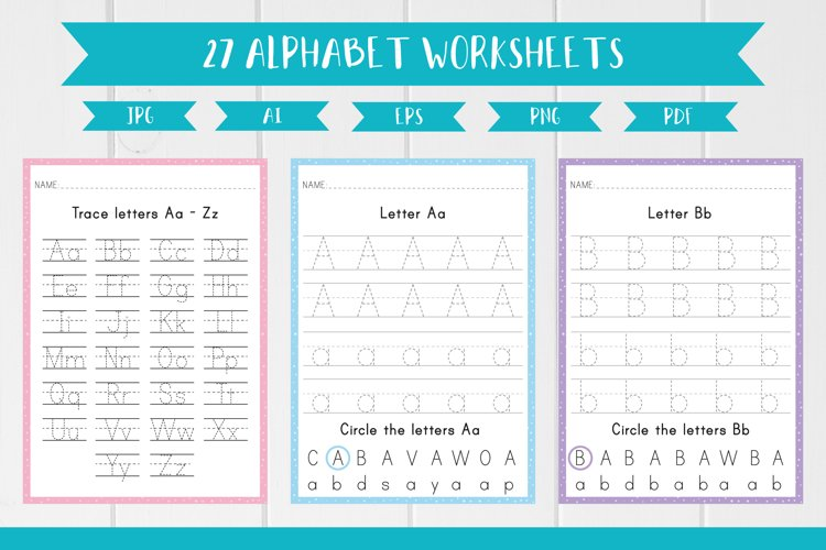 27 Alphabet English Worksheets, Trace the Letters A4 size example image 1