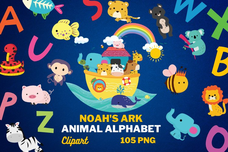 NOAH'S ARK Clipart, 105 png Clipart files, ALPHABET example image 1