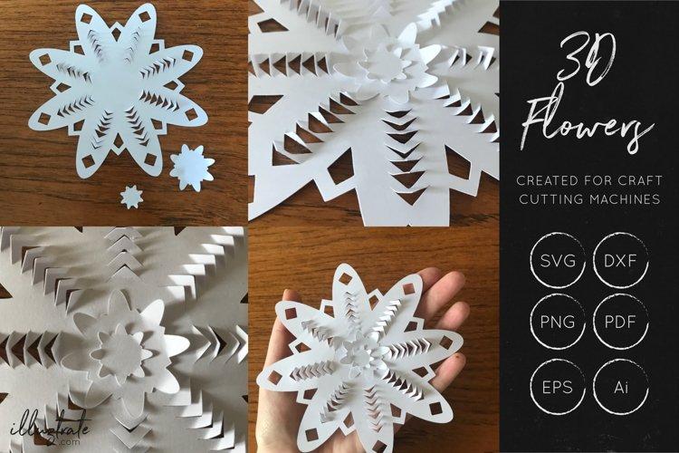 3D Flower SVG Cut Files - Flower SVG - Layered Flower DXF - Free Design of The Week Design7