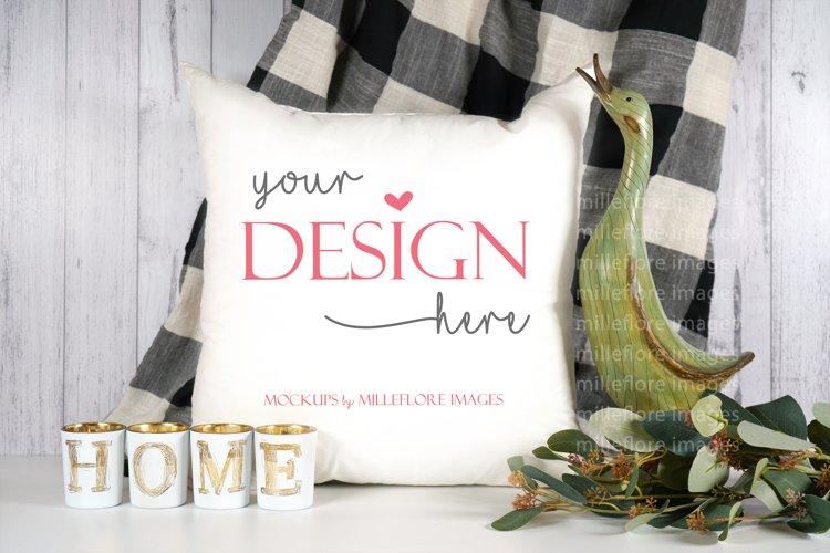 Farmhouse Throw Pillow Cushion SVG Craft Mockup Styled Photo