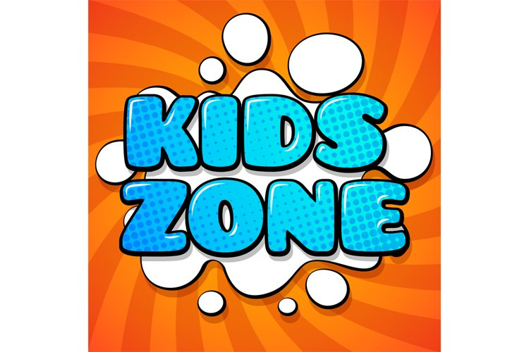 Kids zone card. Colorful cartoon words on funny background v example image 1