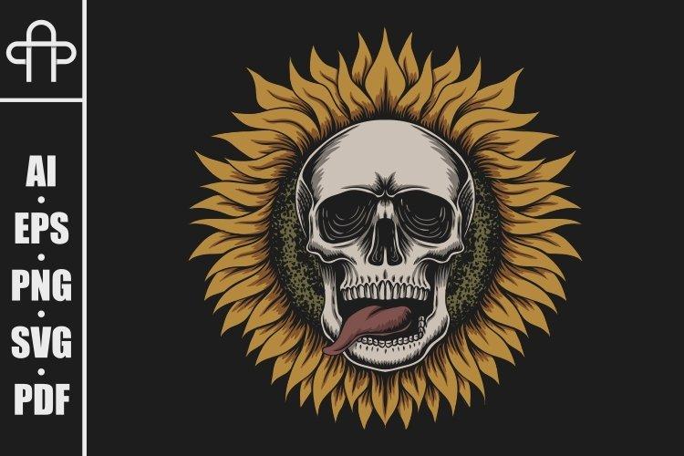 Sunflower skull illustration example image 1