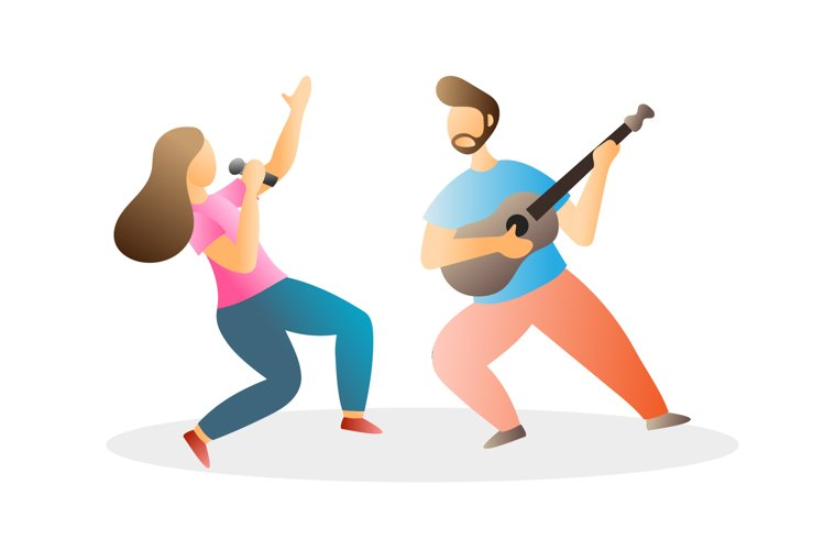 Vector illustration singing playing guitar character example image 1