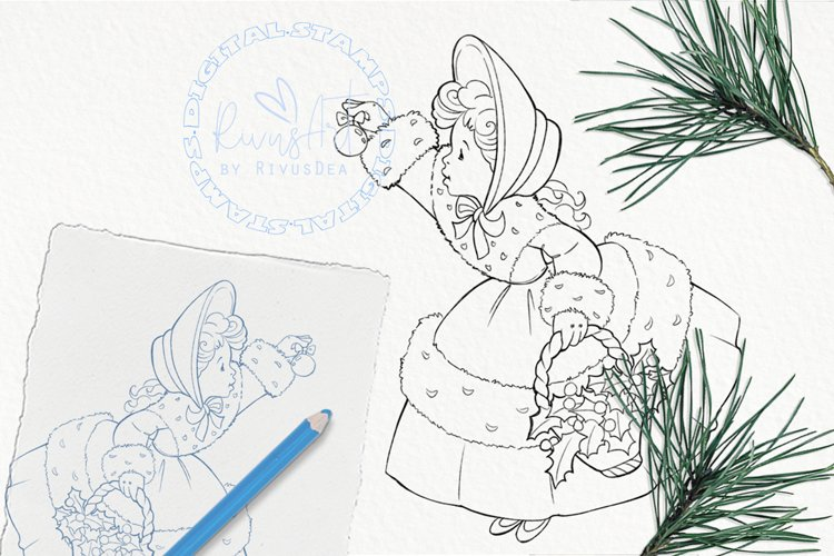 Vintage Christmas girl with mistletoe on basket coloring example image 1