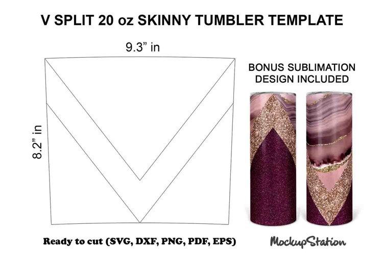 V Split 20oz Skinny Tumbler Template SVG