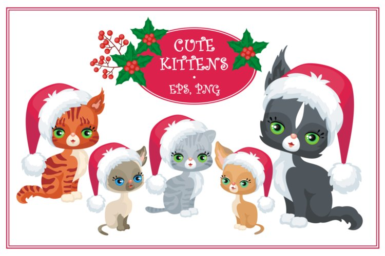 Cute kittens. Christmas mini set