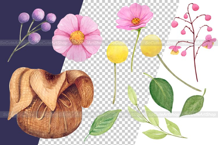 Watercolor Wildflower PNG Summer clipart, Floral bouquet png example 4