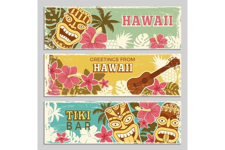Horizontal banners set with illustrations of hawaiian tribal example image 1