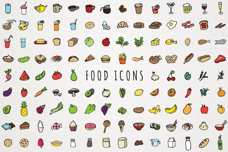 Food Icons Hand Drawn Clip Art