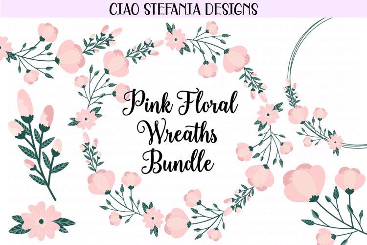 Floral Pink Peony Wreaths Illustration Bundle example image 1